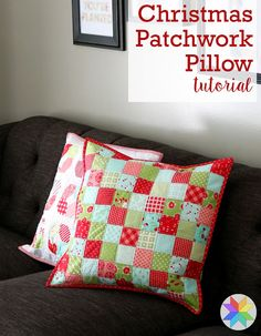 Christmas Patchwork Pillow Tutorial Christmas Patchwork Pillow tutorial by Andy of A Bright Corner - a fun and quick scrap fabric project Baby Patchwork Quilt, Patchwork Cushion, Quilted Pillow, Mini Quilts, Crazy Patchwork, Christmas Quilting Projects, Christmas Patchwork, Christmas Cushions, Christmas Cushion Covers