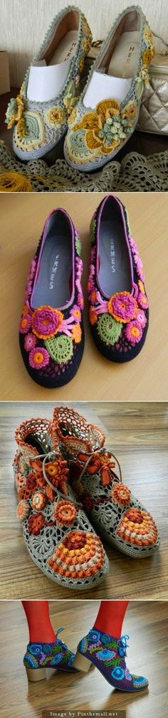 """Totally fabulous Irish Crochet Shoes by Ukranian designer Olena Melnyk. Freeform Crochet, Crochet Art, Love Crochet, Irish Crochet, Beautiful Crochet, Crochet Crafts, Crochet Patterns, Crochet Sandals, Crochet Boots"