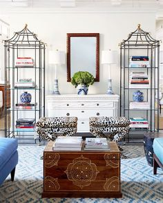 one kings lane blue and white living room vignette - cool etageres - symmetry is good but when is it too much of a good thing?
