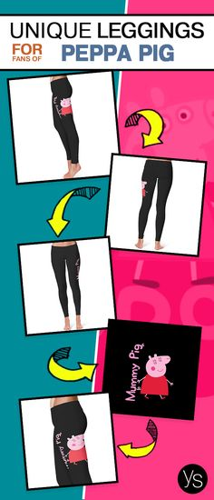 """Grabe these soft cotton """" Mummy Pig"""" Peppa Pig inspired Leggings. Click to Learn more!"""