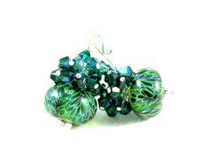 Dark Green Earrings Boro Lampwork Earrings by GlassRiverJewelry, $37.00