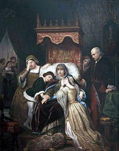 Isabel de Portugal (1428-1496), madre de Isabel la Católica. Reina consorte de Castilla por su matrimonio con Juan II. «La demencia de Isabel de Portugal», cuadro atribuido al pintor Pelegrí Clavé, en el que aparece la futura Isabel la Católica a la derecha.