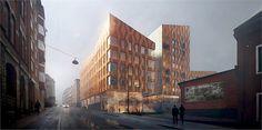 Kopparhusen, kvarteret Bommen, Hyresbostäder och Klövern. Studentlägenheter, bostadsrätter, forskarlägenheter och kontor.