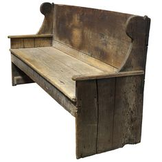 Primitive 18th Century Wood Bench | From a unique collection of antique and modern benches at http://www.1stdibs.com/furniture/seating/benches/