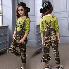 Kids Clothing Sets Children's Pants Shoulder Straps Girl Rompers Fashion Tshirt+ Pants Autumn Overalls for Girl Camouflage Suit