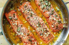Pan Recipes- Tava Tarifleri Caper, Garlic and Lemon Flavored Salmon Fillet - Shellfish Recipes, Meat Recipes, Seafood Recipes, Dinner Recipes, Cooking Recipes, Healthy Recipes, Turkish Recipes, Ethnic Recipes, Lemon Salmon