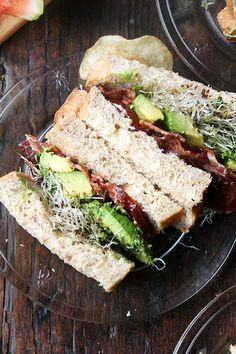 bacon avo sandwich on homemade super soft sandwich bread