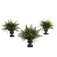 Mixed Fern Bush w/Urn (Set of 3) #4976 Ferns just capture nature at it's finest, they are so lush, so leafy, so delicate, and yet so full of life as well. This fern mixture captures all of that, and combines them into a cornucopia of shapes and textures bursting forth from a stately, decorative urn. This is a set of 3, so you have all kinds of decoration possibilities. Perfect for home and office. Specs: Height: 10 in, Width: 10.5 in, Depth: 10.5 in, Pot size: W: 4.25 in, H: 4.25 in, D: 4.5…