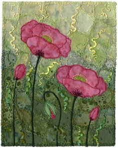 Crazypatch background, appliqué, free-motion, couching.For a short time, many years ago, I lived by a seaside lagoon.  These  poppies were growing nearby and I fell in love with the glaucous  leaves.  I decided to make the entire background the colour of the  leaves.  The flowers float in an abstract sea of foliage.
