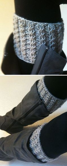 Free Knitting Pattern for Rebekah's Boot Cuffs - Easy boot toppers knit in a 3 row repeat twisted stitch pattern. 2 sizes. Rated very easy by Ravelrers. Designed by haveyoumetmycats