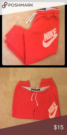 Nike Cropped Sweatpants Excellent condition. No flaws. Fun coral pink color Nike Pants Track Pants & Joggers