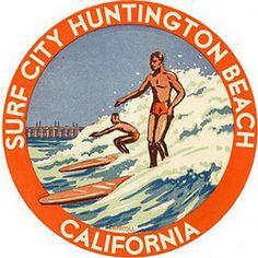 Personalized Vintage Surfing Art Round Wooden Plaque