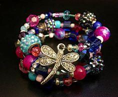 Pink memory wire bracelet wrap bracelet by BridgeTollBeading