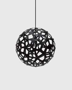 Coral Pendant Lamp in a black painted finish both sides. The finish is sprayed acrylic on bamboo. These lights are sold in a range of sizes and are kitset. Made in New Zealand. Pendant Lamp, Pendant Lighting, Light Fittings, Light Fixtures, Pendant Light Fitting, Design Museum, Hanging Lights, Pendant Design, Decoration