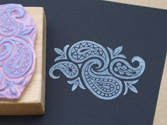 Gorgeous ornament hand-carved stamp by Nettis STAMPelART paramecio