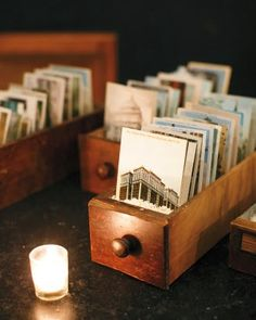 A unique Wedding Guest Book! Get the guests to sign vintage postcards on a specific theme such as the city where you met or where you're getting married, a favourite theme like flowers, etc.