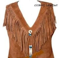 Plus Size Soft Suede Vest Fringe Accented with Hairpipe Beads Leather Tassles Silver Concho $85.00