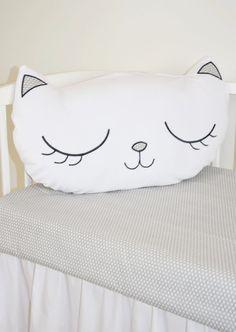 Kitty Cat Pillow, White Plush Kittie Face Cushion