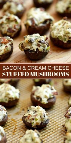 Bacon and Cream Cheese Stuffed Mushrooms - Onion Rings & Things - Bacon and Cream Cheese Stuffed Mushrooms ~ are a must on any party menu! Loaded with creamy and smoky flavors, these appetizers are a seriously addicting! Mushroom Appetizers, Bacon Appetizers, Appetizers For Party, Appetizer Recipes, Delicious Appetizers, Cheese Recipes, Stuffed Mushrooms Cream Cheese, Easy Stuffed Mushrooms, Stuffed Mushroom Recipes