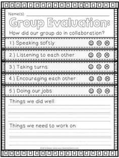 Group Evaluation Chart and Poster Set. Six adorable posters teach collaboration (team work) skills.A nice group activity after centers. A marble in the jar if we get all smiley faces. Teaching Posters, Teaching Tips, Classroom Behavior, School Classroom, Classroom Expectations, Classroom Procedures, Classroom Organization, Classroom Management, Behavior Management