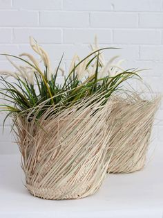 Fringed storage baskets, handwoven in Morocco from natural palm leaf. These traditional Moroccan baskets arehandcrafted using long pieces of palm leaf to create adecorative fringed surface. A cool home for houseplants, use them as statement planters or as extra storage around the home.