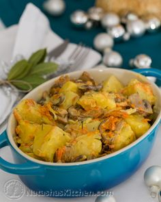 Potatoes with Cream and Mushrooms. This is such a great recipe! Really different method! Teaches me a lot!
