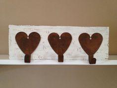 Rustic Primitive Heart Wall Rack