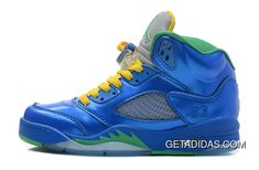 53779429352 Air Jordan 5 Easter Metallic Blue-Yellow-Green TopDeals
