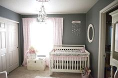 Shabby chic nursery in pink and gray