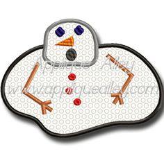 melted snowman  applique alley