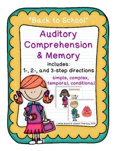 """This """"Back to School"""" themed set targets auditory comprehension & memory of 1-, 2-, and 3-step directions. More than 150 direction cards in all! Adaptable to simple, complex, temporal, and conditional directions. Option for expressive language practice, too!"""