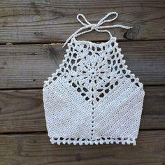 Crochet Pattern Crop Top Halter Bikini High Neck M Halter Bikini, Halter Crop Top, Crochet Halter Tops, Crochet Bikini Top, Crochet Cord, Crochet Shawl, Diy Crochet, Mode Du Bikini, Crop Top Pattern