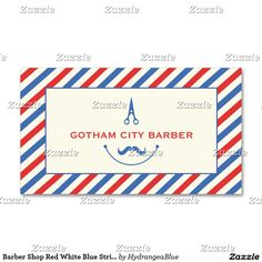 Barber Shop Red White Blue Stripes Mustache Business Card