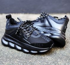 "Image of <FONT color=""RED"">NEW</FONT> VERSACE - Chain Reaction All Black Sneaker"
