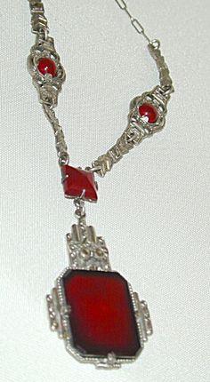 Sterling, Carnelian Art Deco Necklace 20s
