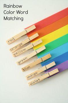 Rainbow Color Word Matching Activity for Preschool and Kindergarten