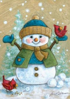 Christmas art, snowman art by renowned painter Janet Stever. Christmas Clipart, Vintage Christmas Cards, Christmas Pictures, Xmas Cards, Christmas Snowman, Winter Christmas, Christmas Crafts, Christmas Decorations, Christmas Ornaments
