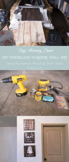 DIY reclaimed wood plank art and wall decor for a rustic nursery and woodland themed nursery. Be Brave, have Courage, and Explore art work with arrows, antlers, and a pine tree. Directions show how to stain in a dark wood color and what to use to hand paint on the wood. The writing/ artwork is hand painted on in an antique white or pure white. If you have all of the tools, it should be less than a $25 project! - from www.sengerson.com.