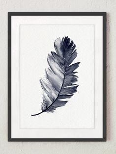 Navy Feather Art Print Baby Boy Nursery Kids by ColorWatercolor