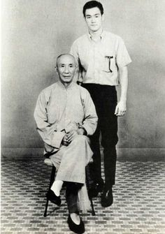 The ravishingly gorgeous Bruce Lee and his teacher, Chinese martial artist Ip Man.