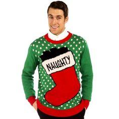 #BlackFriday Ugly-Christmas-Sweater-Men-Large-XL-Green-Sexy-Funny-Naughty-Stocking-Crewneck