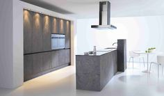 Plentiful Modern Kitchen Designs With Gray Built In Kitchen Cabinets And Island As Well As Modern Ceiling Range Hood As Inspiring Apartment Modern Kitchen Ideas