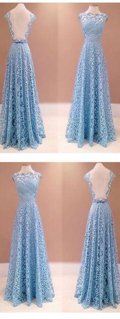 2018 Custom Made Charming Lace Prom Dress,Sexy Sleeveless Evening Dress, Floor Length Prom Dress #bluelacepromdresses #sleevelessprom #promdress #longpromdress #eveningdress #promdresses #partydresses #2018promdresses #Loveprom