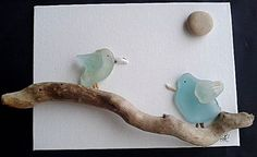 Sea Glass Art: Sea Glass and Shell Birds on a Twig with Pebble Sun on a 13cms x 18cms Canvass Board