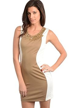 2LUV Womens Spike Neck Contrast Panel Dress Mocha LKD4597 -- You can find more details by visiting the image link. Note: It's an affiliate link to Amazon.