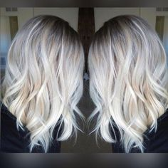 Long bob with platinum blonde balayage highlights
