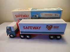 Vintage-1960s-Japan-Safeway-16-Tin-Tractor-Trailer-Toy-Semi-Truck-Mint-in-Box