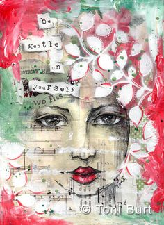 """""""be gentle on yourself"""" - from my art journal. Gorgeous leaf stencil on this girl...I love the way she is peaking out from within. ...and the little scrap of sheet music you can see by her chin is from a piece that is called """"come, little leaves"""". art journaling, girl sketch"""