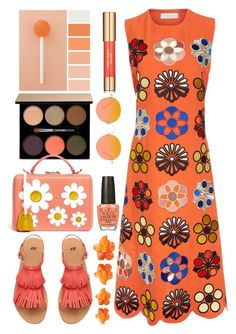"""""""Victoria Victoria Beckham Orange Crepe Embroidered Shift Dress"""" by thestyleartisan ❤ liked on Polyvore featuring Lancôme, Mark Cross, H&M, GlassesUSA, Estée Lauder, Victoria, Victoria Beckham and OPI"""
