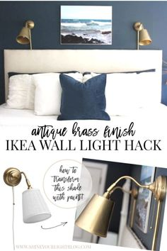 Give inexpensive Ikea wall lights an upgrade with this antique brass finish. Ikea Wall Lights, Ikea Lighting, Do It Yourself Ikea, Home Decor Items, Diy Home Decor, Headboard With Lights, Transitional Home Decor, Pinterest Home, Paint Colors For Living Room